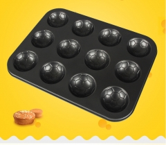 MUFFIN BAKING TRAY 12 CUP FOOTBALL PATTERN Black Media