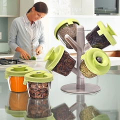 Seasoning cans The tree flavor pot 6 piece Pop up spice rack green as picture