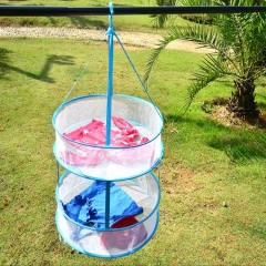 Double-layers clothes-drying basket laundry basket drying basket blue as picture