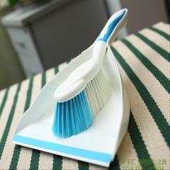 Small Desk Broom Dustpan Combination Set blue as picture