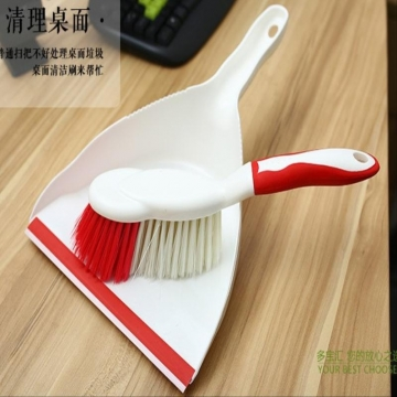 Small Desk Broom Dustpan Combination Set Red as picture