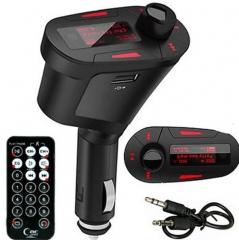 Wireless Car MP3 FM Transmitter Modulator USB SD MMC LCD Display+Remote Red