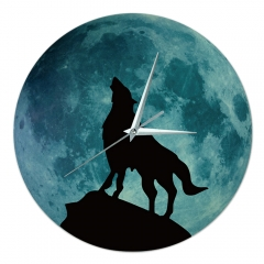 DIY Noctilucent Wolf Simple Home Decoration acrylic+PVC Wall Clock Howl One size