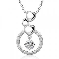 IDM Fashion heart-shaped modelling zircon silver necklace platinum copper