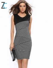 Stripe Splicing Dress European Station Women's Pencil Skirt black s