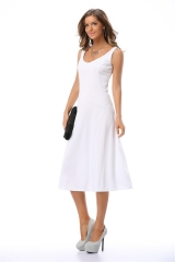 2016 NEW ZINC FASHION women slim slim waist sleeveless strapless dress skirt pendulum white S