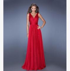 Women 's V - neck halter dress waist yarn dress skirt red s