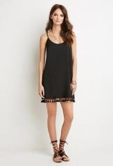 Summer fashion fringed hem dress black s