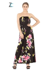ZINC  NEW sexy strapless dress style floral  wrapped chest dress for party as the picture S
