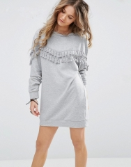 Autumn long fringed round neck long-sleeved sweater dress gray s