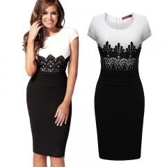 Splicing lace Slim dress white l