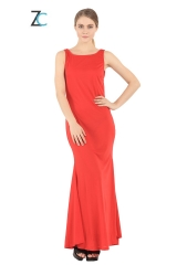 The new summer sleeveless solid cultivation slim color  dress Red S