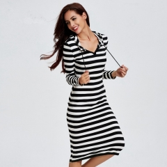 The new striped Slim casual hooded bottom in the long dress as the picture m