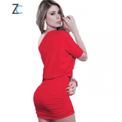 Sexy package hip dress / nightclub shoulder slim collar pencil skirt red S