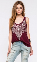 Fashion sexy low round neck Totem Print back hollow design Slim vest red s