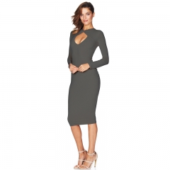 NEW FASHION Long sleeved chest cross open package hip dress gray S