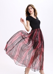 Summer printing stitching with a long paragraph dress as the picture m