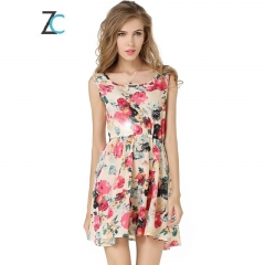 New  sleeveless vest dress Flower Print Chiffon Dress as the picture S