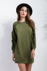 In the side of the long section of the edging sword sleeve sweater ArmyGreen s