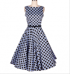 Vintage 50S Hepburn wind blue round black point of the boat neck large swing dress as the picture s