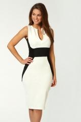 Hit color V-neck Slim package hip sleeveless dress white l