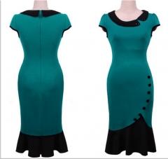 Slim short-sleeved fishtail skirt green xxl