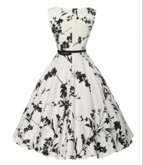 Hepburn wind sleeveless vest retro large swing dress as the picture xxl
