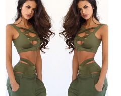 The chest strap two piece suit sexy swimsuit Army Green s