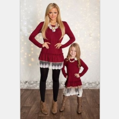 Bubble Hem Shirt Lace One Piece Long Sleeve Kids red s