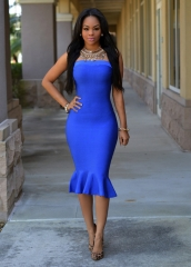 Strapless wrapped around the chest after the zipper package hip tuxedo skirt dress blue s