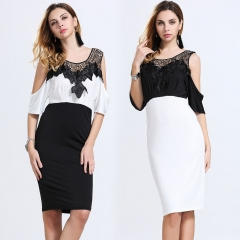 Women 's summer blasting section of European and American stitching empty chiffon dress a word skirt white s