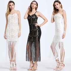 Summer new high-end women's temperament in Europe and America lace fringed dress white s