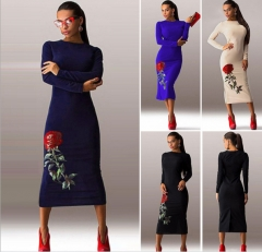 New long - sleeved blouses dress skirt printing in Europe and the United States women 's dress black s