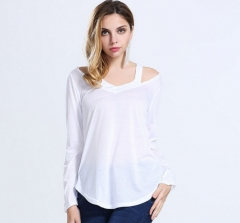 The new European and American fashion casual women 's long - sleeved V - neck long sleeve T - shirts white s