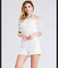 Burst models summer new large code loose women lace chiffon shirt sexy Siamese shorts white s