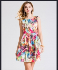 Summer new European and American high-end women's printing cotton and linen vest skirt dress as the picture s