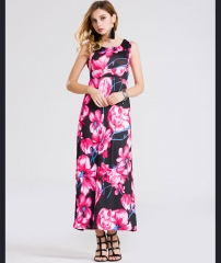 Summer new sleeveless printed loose dress explosion models red s