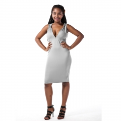 Sexy European and American deep V sleeveless pure color hooded dress gray s