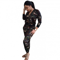 Casual suit new women 's explosive paragraph camouflage suit  Jacket + pants as the picture s