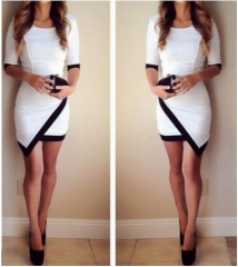 Explosion models sexy black and white color stitching irregular package hip sleeve dress white s