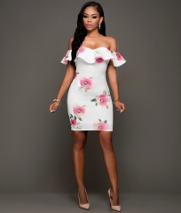 Europe and the United States sexy strapless print dress boutique women white s