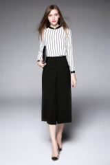The new women 's long - sleeved striped shirt + black was thin legs pants suit two sets white s