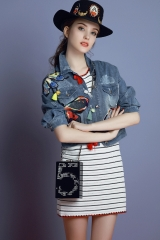 New women's heavy fabric patch embroidered butterfly flower bud fringed short denim small jacket denim blue s