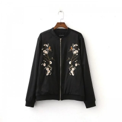 Plum Embroidery Three - dimensional Retro satin pilots Embroidered Jackets Baseball Clothing black s