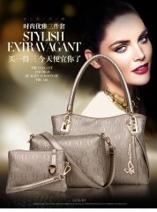 2016 new fashion handbags and portable shoulder mother bag three piece golden one size