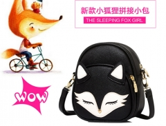 2016 new summer Mini Crossbody Bag fox cute girls single shoulder bag black one size