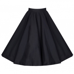 Retro pure cotton bust skirt classic wild pure color dot A word large bust skirts elegant skirt black s