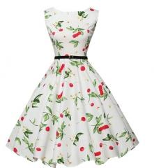 Retro Hepburn wind waist was thin big dress with a belt white s
