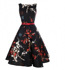 Black Plum Blossom Cotton Slim Retro Big Pendent Dress as the picture s