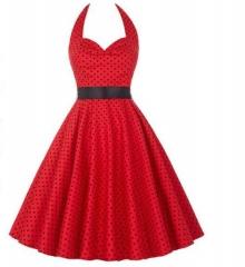 Blasting retro paragraph Hepburn turmoil points waist was thin big dress with a belt red s